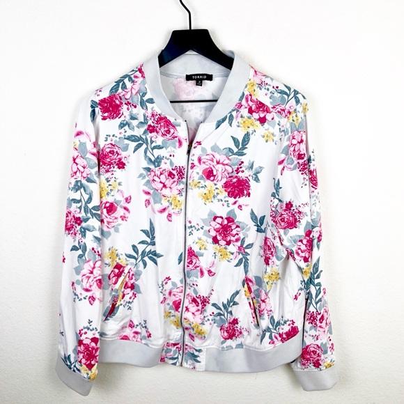 3ef32d9b49041 Torrid Floral White Zipper Jacket
